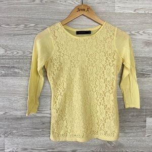 The Limited Lace Front Yellow Long Sleeve Blouse